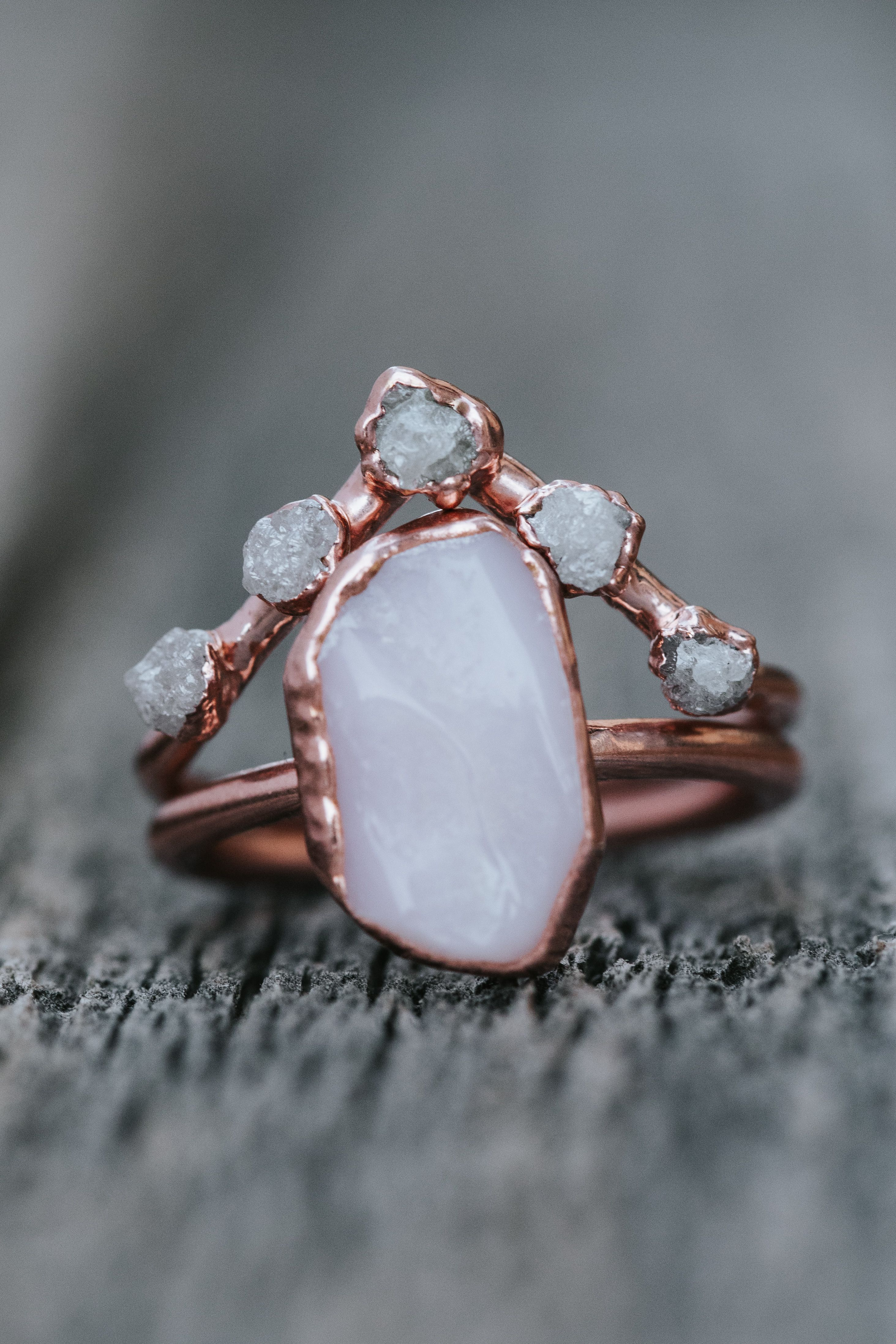Pink Opal and Diamond Bridal Set in 2020 Opal wedding