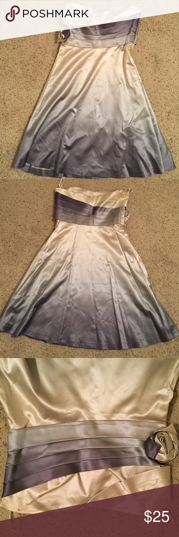 White ombré cocktail dress banana republic and silk
