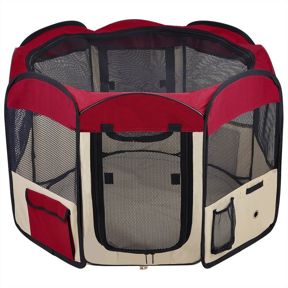 Large Dog Playpen Red Pet Puppy Tent Crate Exercise Kennel Canine Train Kennel Mesh Cover Panels Zipper 2 Doors Case Waterproof Portable ** Discover this ...  sc 1 st  Pinterest & 48u0027x48u0027x36u0027 2-Door Large Dog Playpen Red Pet Puppy Tent Crate ...