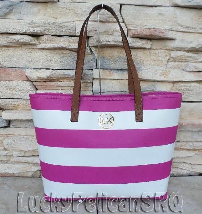 958701eaead3 Michael Kors Jet Set Travel Saffiano STRIPE Medium Tote Bag Fuschia Pink  White #MichaelKors #TotesShoppers