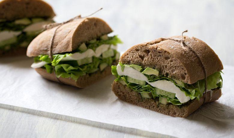 Y queso de tierno sandwich calabacin