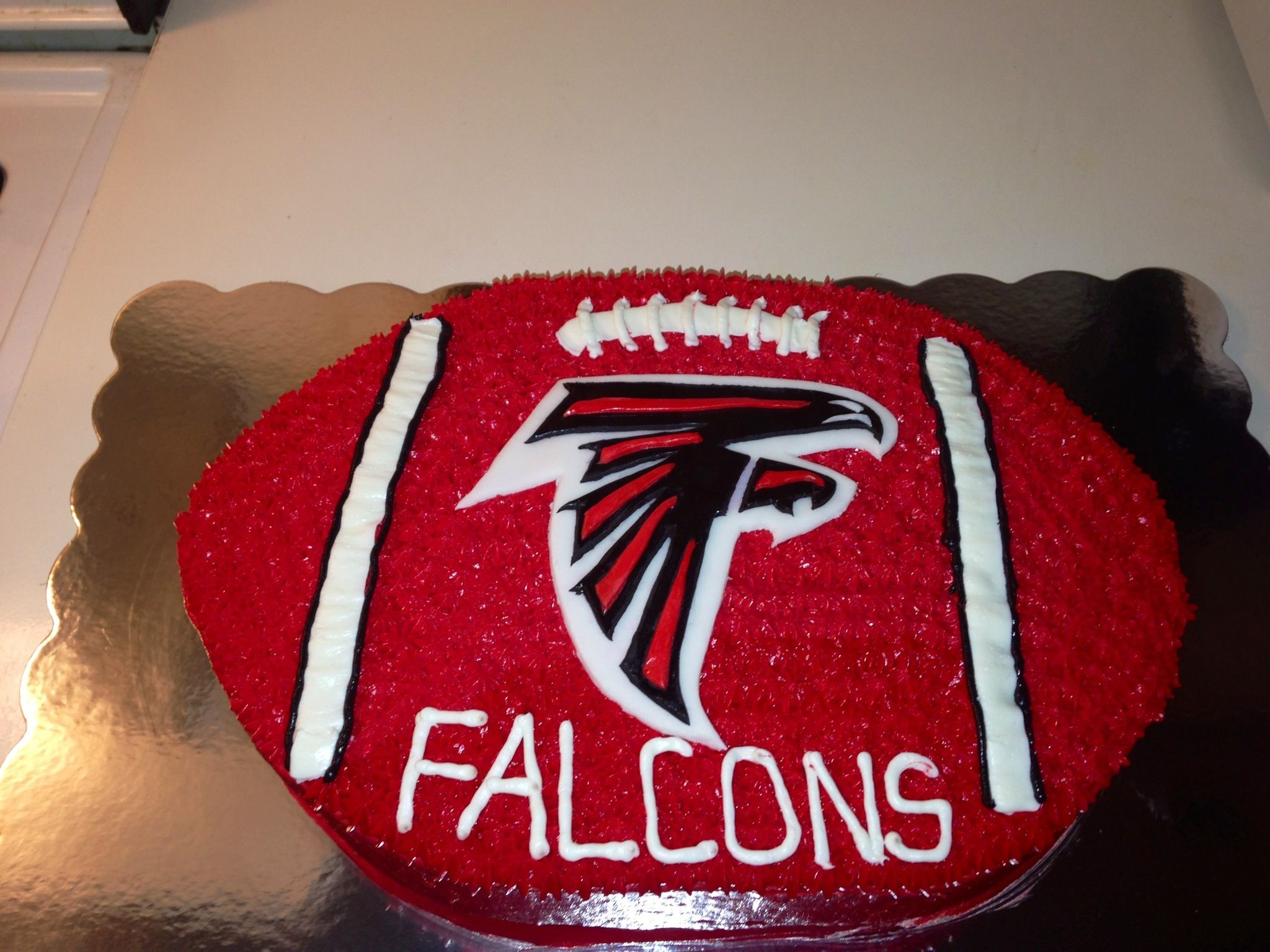 Grooms Cake Atl Logo And Football Shape Falcons Cake Falcons Football Cake Atlanta Falcons Cake