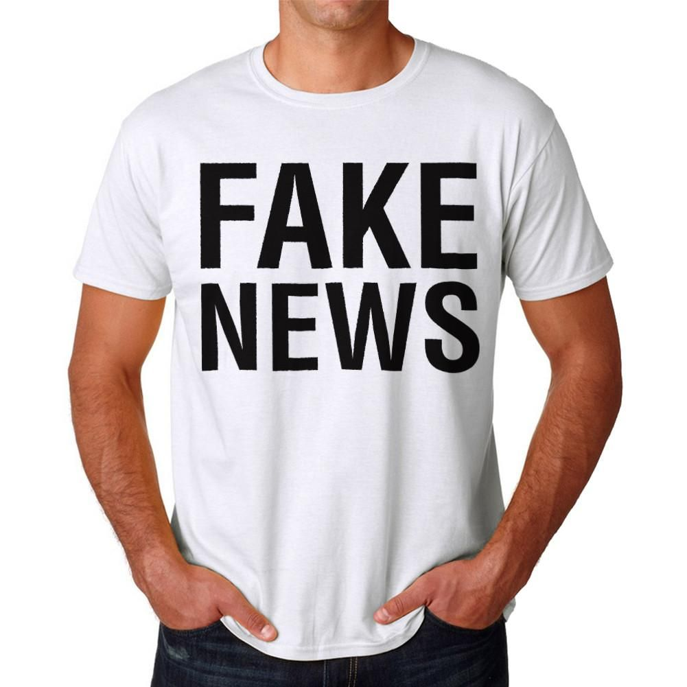 8c83d7ffe896 Fake News Men s White T-shirt. White crew neck Short Sleeve T-shirt Fake  News Graphic Tee. Not going to lie  This just another typo t-shirt  but