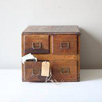 Vintage card catalog file drawer
