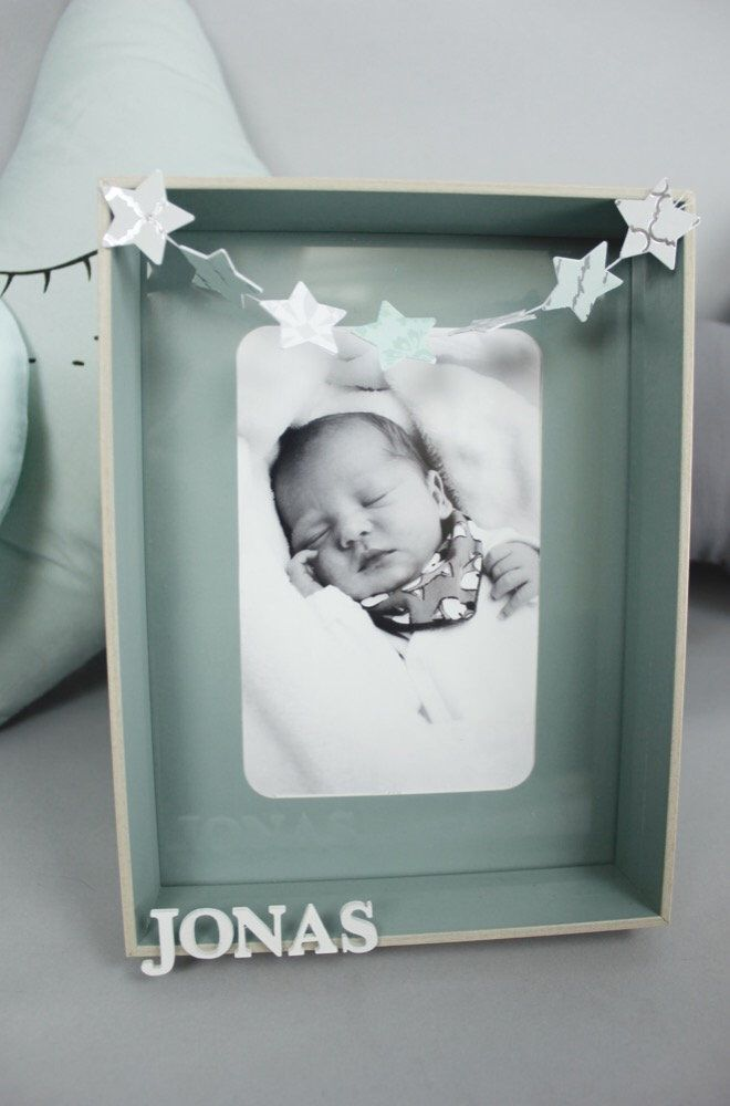 Personalized picture frames, baby room, deco, welcome home, stars ...