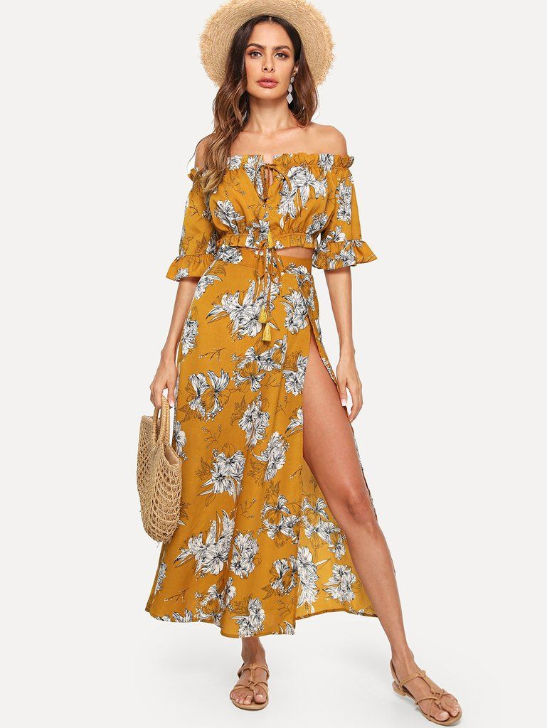 115a8313a1 Yellow Floral Off-the-Shoulder Frilly Crop Top & Skirt 2-Piece Set ...