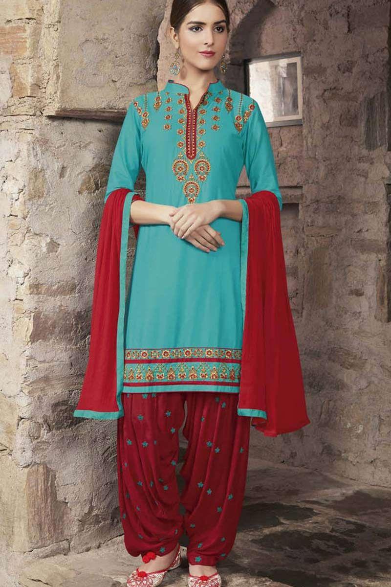 blue Cotton Patiala Suit | Patiala, Suits uk and Suit prices