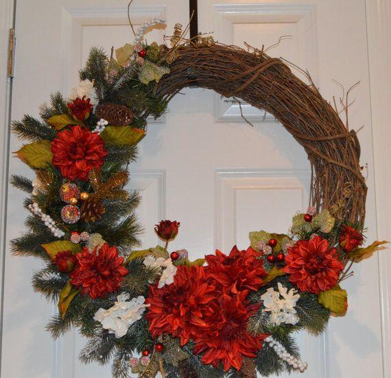 Christmas Wreath Dahlia Wreath Holiday Wreath by TheBloomingWreath