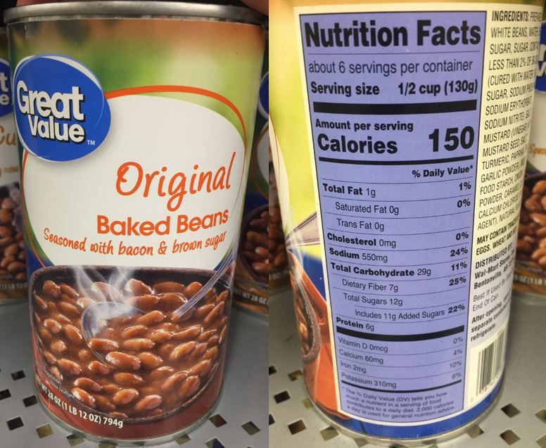 The Added Sugars Line On Great Value Walmart Brand Original Baked Beans Seasoned With Bacon Brown Sugar L Nutrition Facts Label Nutrition Facts Baked Beans