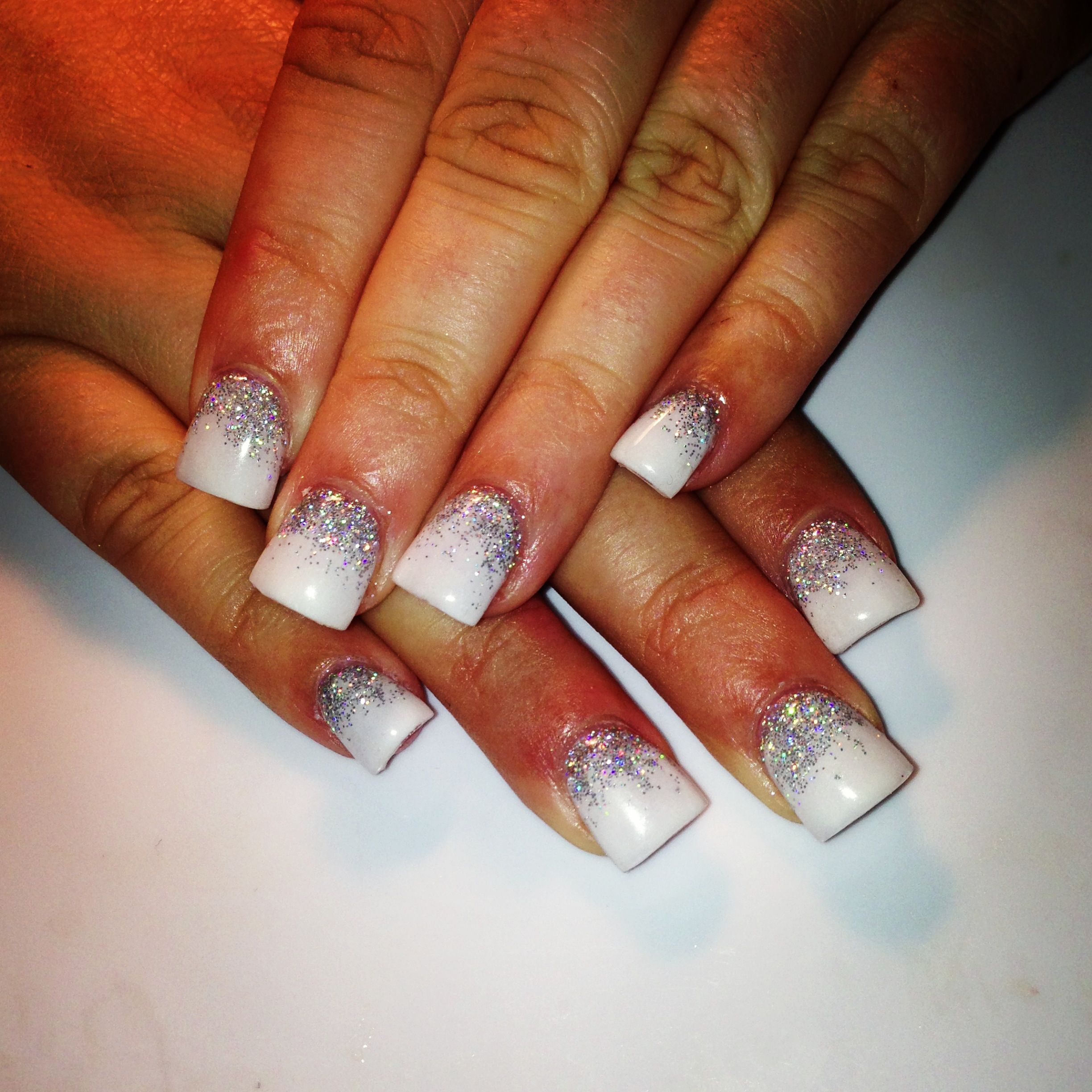 White With Silver Sparkles At The Bottom With Images Prom Nails Cute Nails Nails