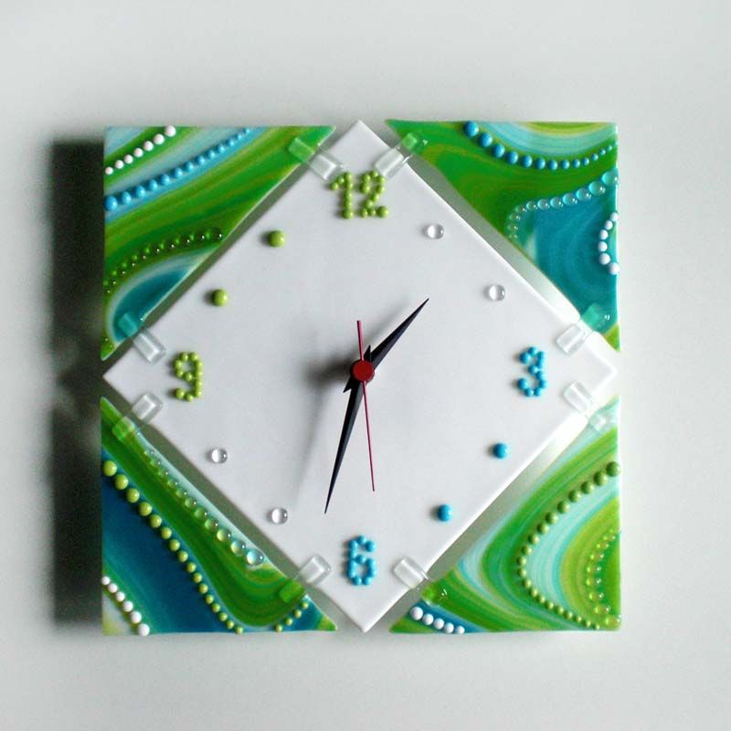 Fused glass wall clock UNIVERSE Fused glass fusing Fused