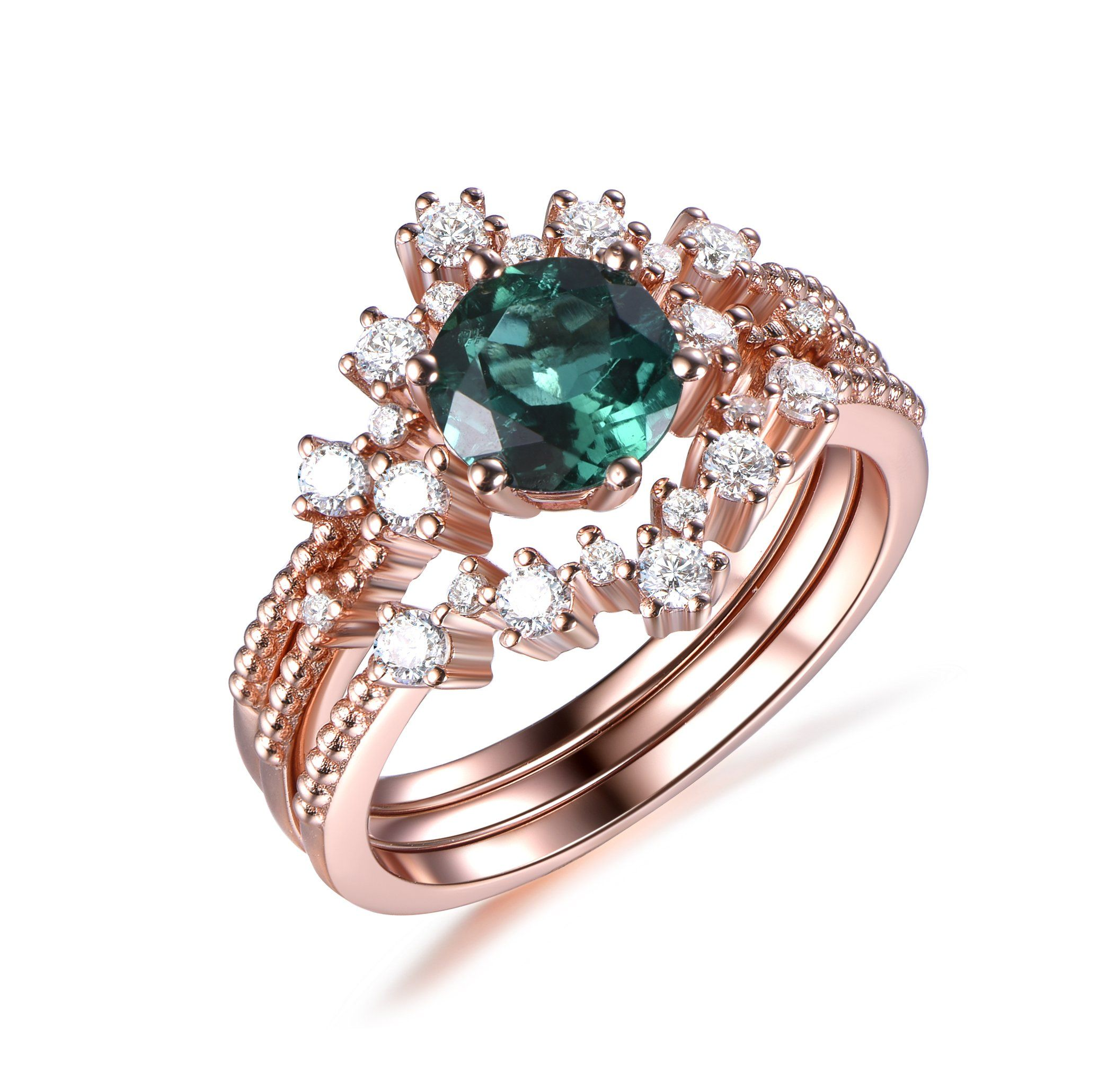 Round Emerald Engagement Ring Trio Bridal Sets Tiara Curve Diamond Wedding Band 14k Rose Gold 6.5mm - 6 / 14K White Gold