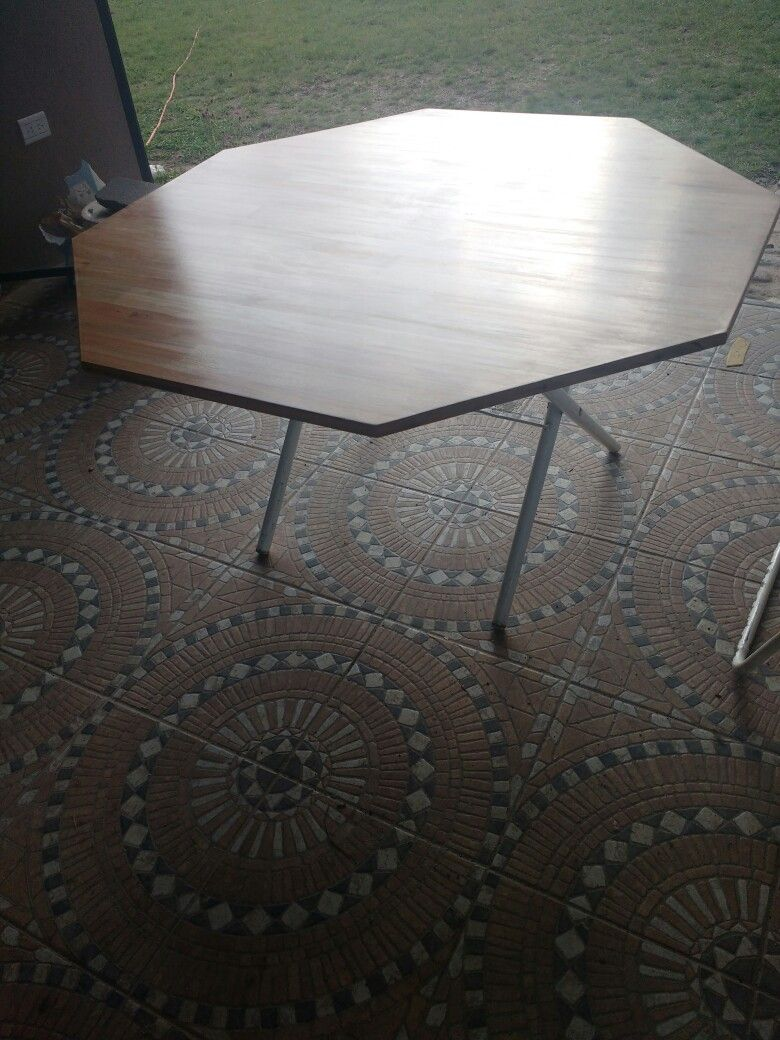 Mesa Octogonal en Madera y estructura de metal   mesa de centro ...