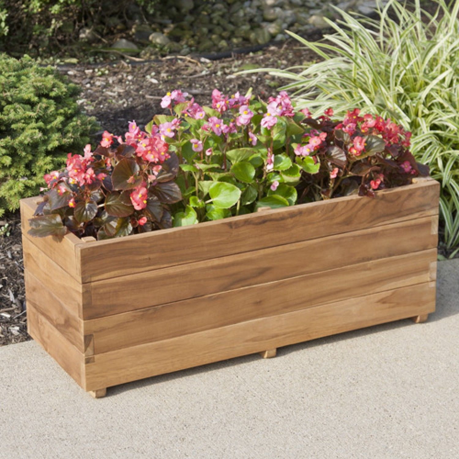 Teak Rectangular Planter Planters And Windowboxes Outdoor Outdoor Wooden Planters Rectangular Planters Wooden Planters