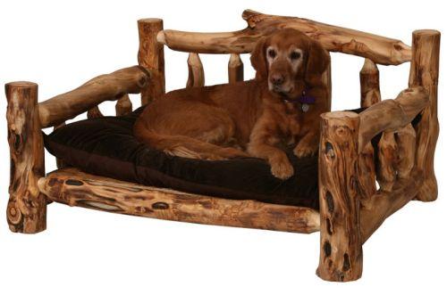 Aspen Log Furniture Reclaimed Barnwood Rustic Wood Br Wood Dog Bed Rustic Dog Beds Cabin Decor
