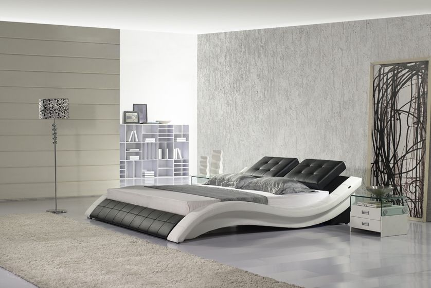 Designer Moderne Echt Lederen Bed Zachte Bed Tweepersoonsbed