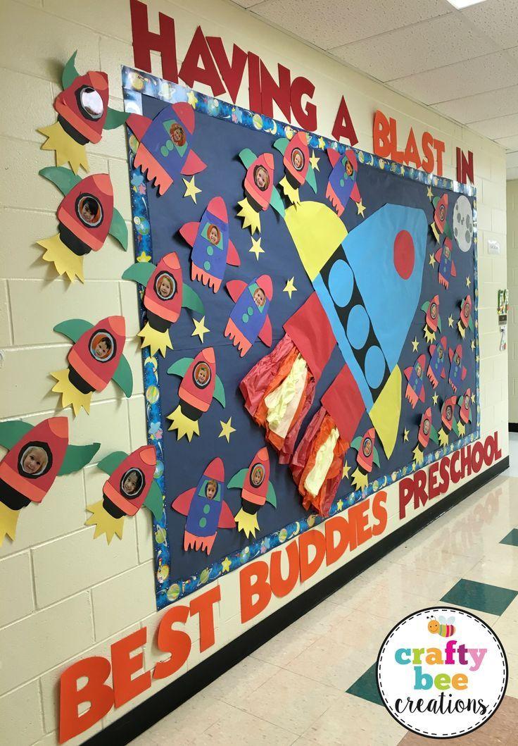 Having A Blast In Preschool Bulletin Board Using Crafty Bee Creations Spaceship Pattern Space Theme Classroom Space Preschool Space Classroom