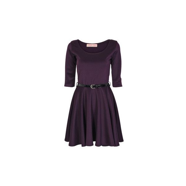Krisp Belted Skater 3/4 Sleeve Dress Dress ($6.41) ❤ liked on Polyvore featuring dresses, purple, women, three quarter sleeve skater dress, belted dress, 3 4 sleeve skater dress, three quarter sleeve dress and 3/4 sleeve dresses