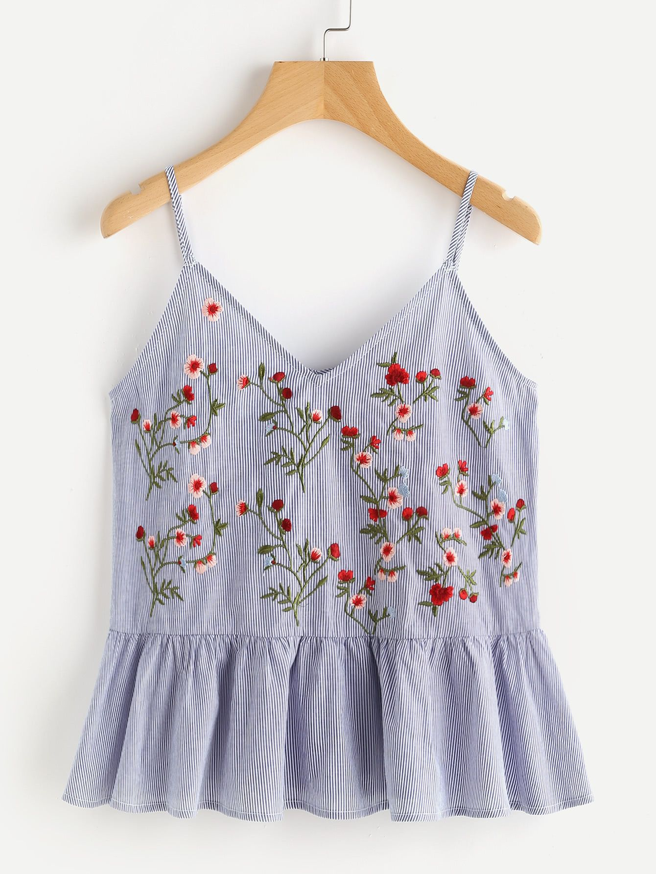 a8a1f18496bf1 Shop Blossom Embroidered Ruffle Cami Top online. SheIn offers Blossom  Embroidered Ruffle Cami Top   more to fit your fashionable needs.