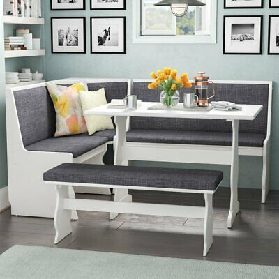 3 pc Gray White Top Breakfast Nook Dining Set Corner Booth Bench Kitchen Table  | eBay