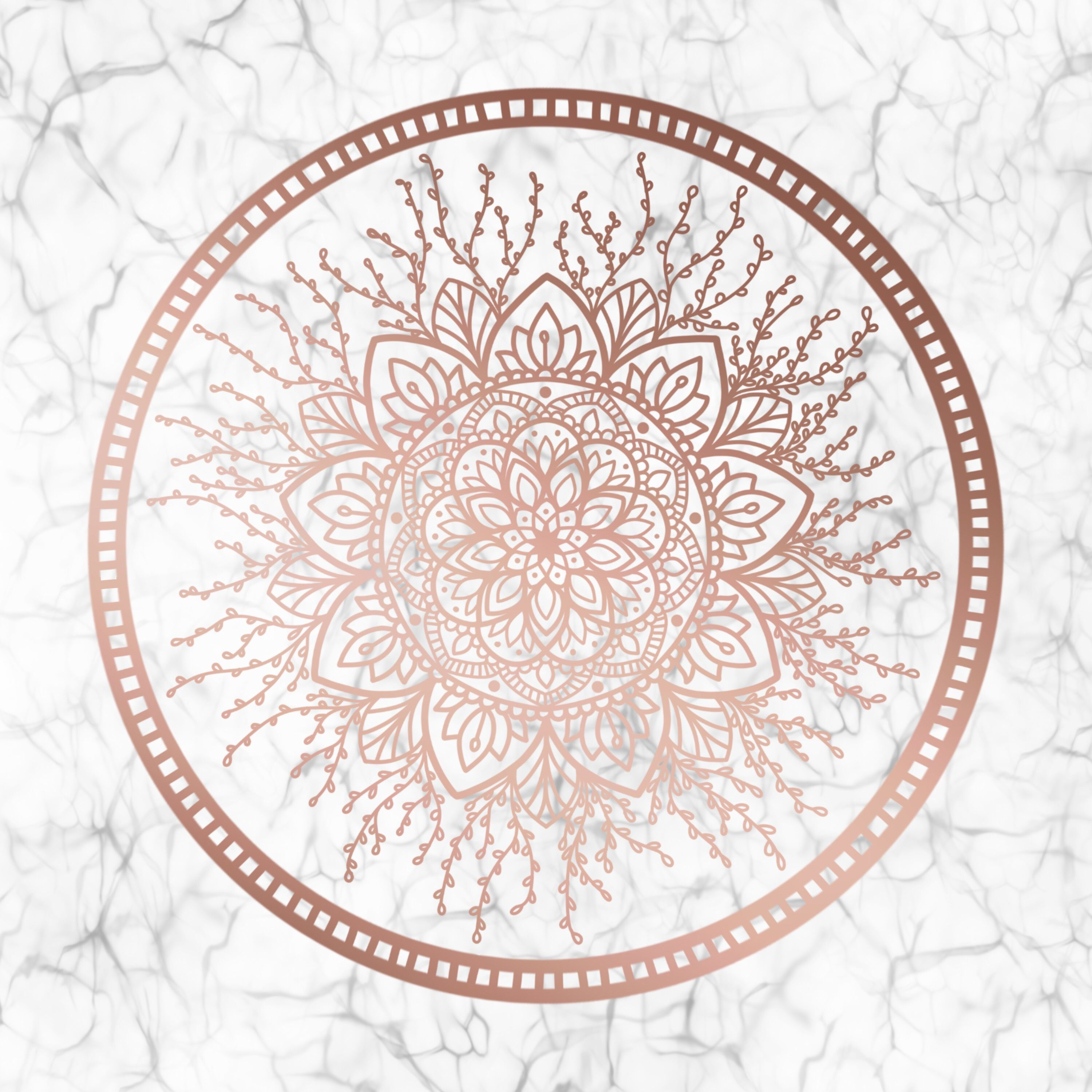 Rose Gold Nature Mandala on Marble by Eliza Bentley