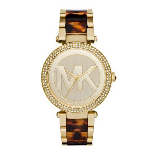 b073a8258366 NWT-New-Michael-Kors-Women-Parker-Gold-Tone-Logo-Glitz-Tortoise-Watch-MK6109