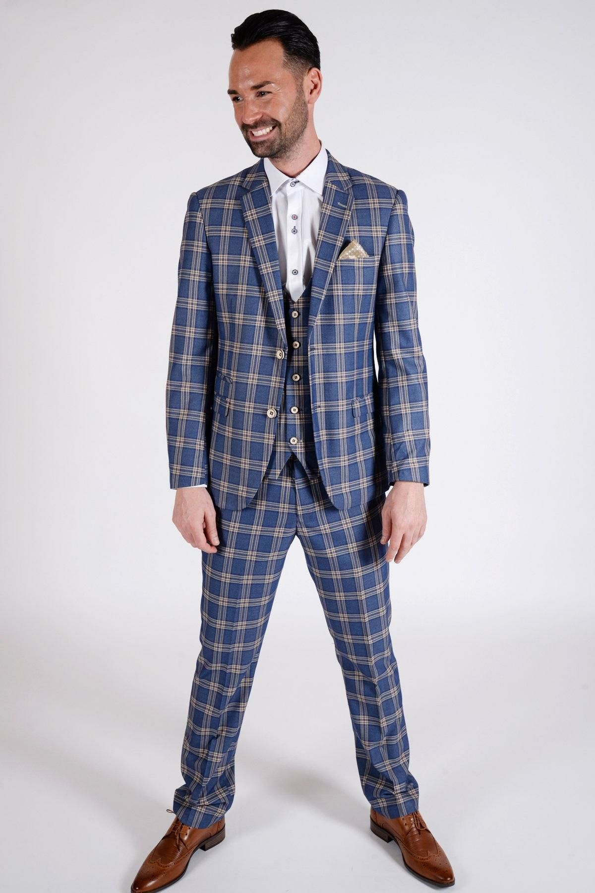 46ba01175048 TONY - Blue Yellow Check Suit As Seen On Chris Eagles - Marc Darcy ...