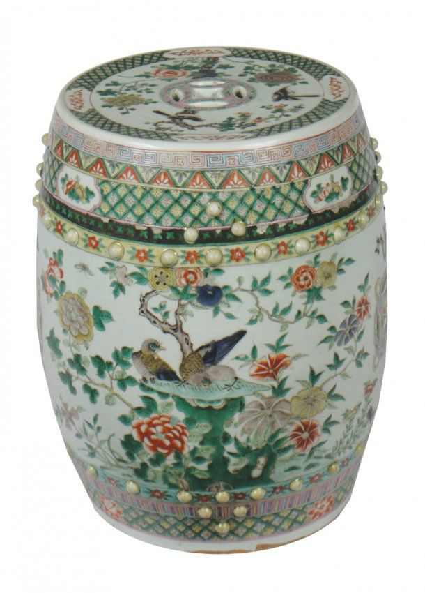 Chinese Qing Period Famille Verte Porcelain Barrel Seat On