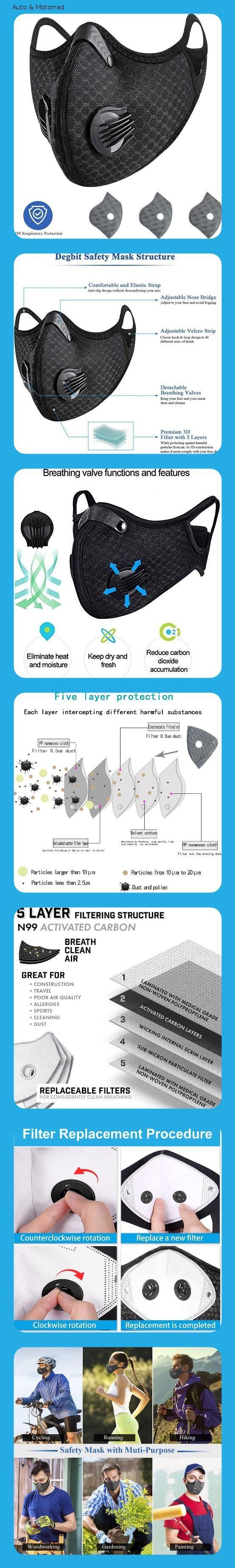 Lapulas Waschbar Mundschutz Maske FFP3 mit Filter Schwarze ...