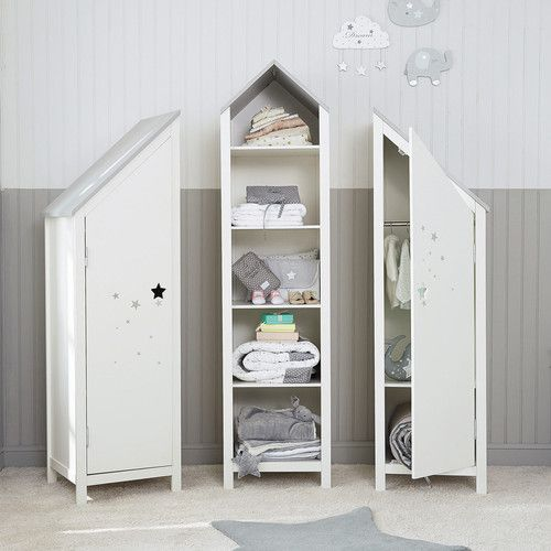 Bibliothèque maison enfant en bois blanche L 45 cm | Kids rooms ...