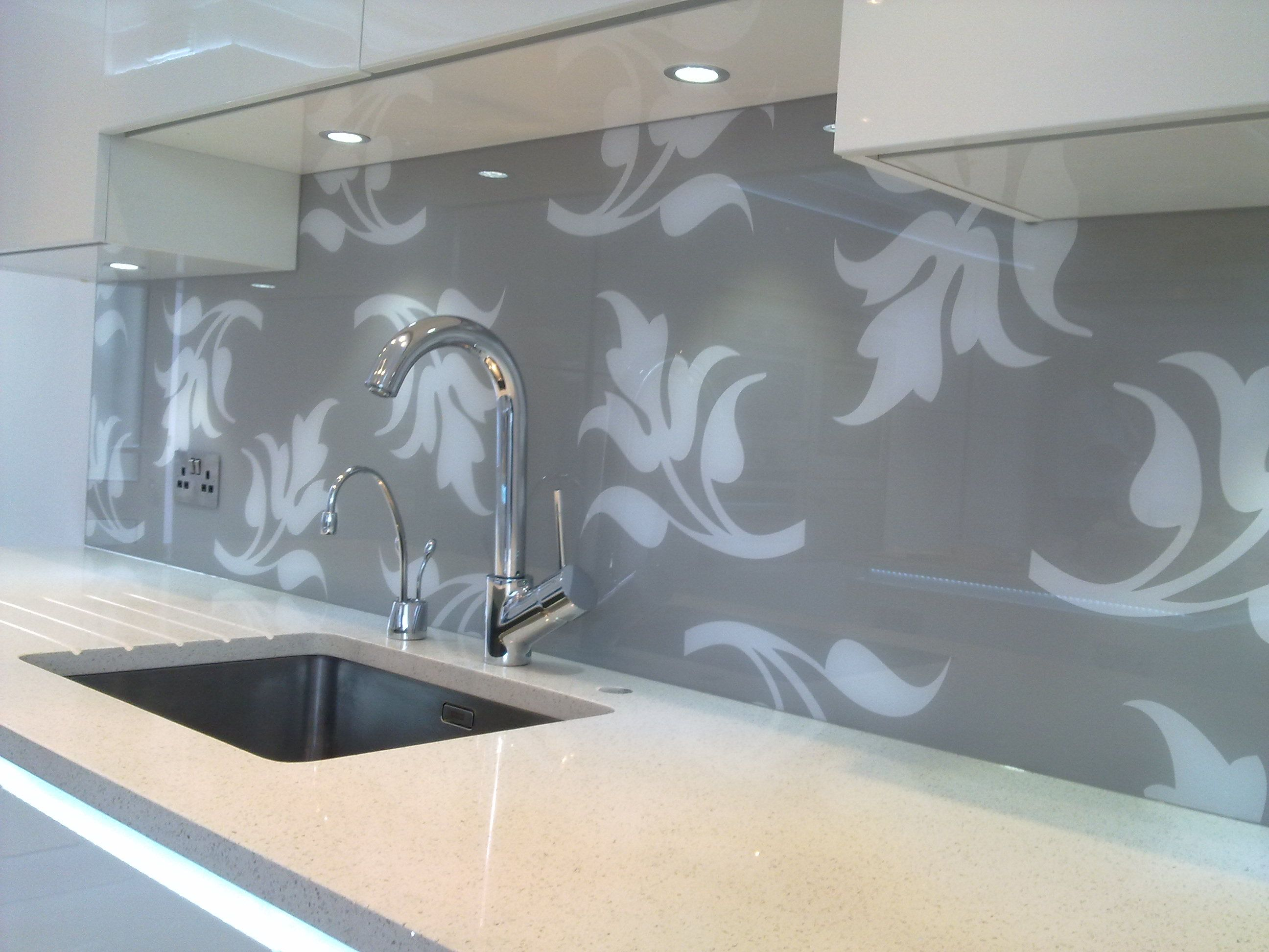 A custom made patterned glass splashback from Adplan | Glass kitchen ...