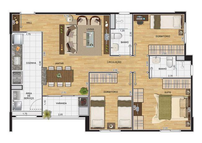 Apartamento de 3 Dormitórios á venda no Condomínio Inspiratto