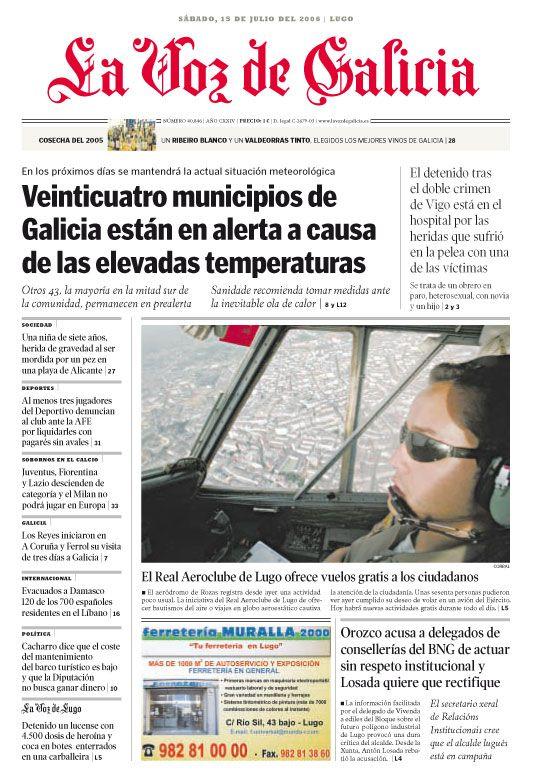 La Voz De Galicia Unha Das Primeiras Veces Que Me Subín A Un Avión Para Facer Unhas Fotos Sana Portadas Meteorologico