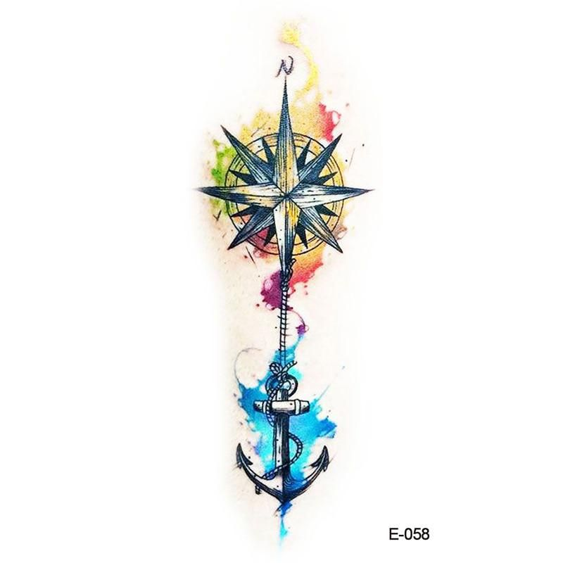 Photo of Wyuen New Design Compass Anchor Fake Tattoo Waterproof Temporary Arm Tatoo Stick…