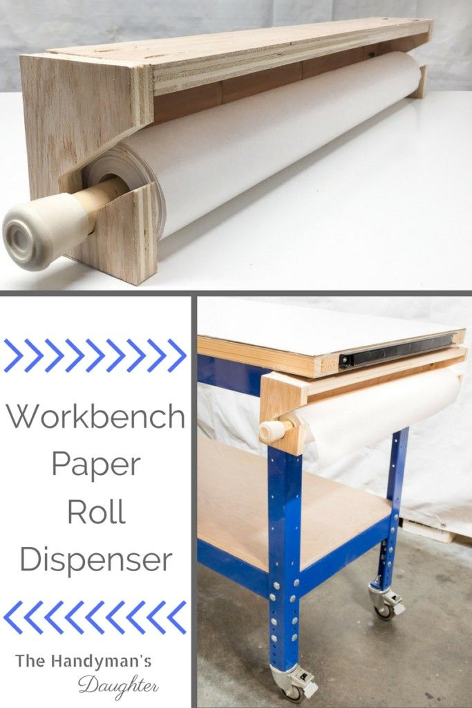 this diy workbench paper roll dispenser is perfect for keeping your work surface free of paint