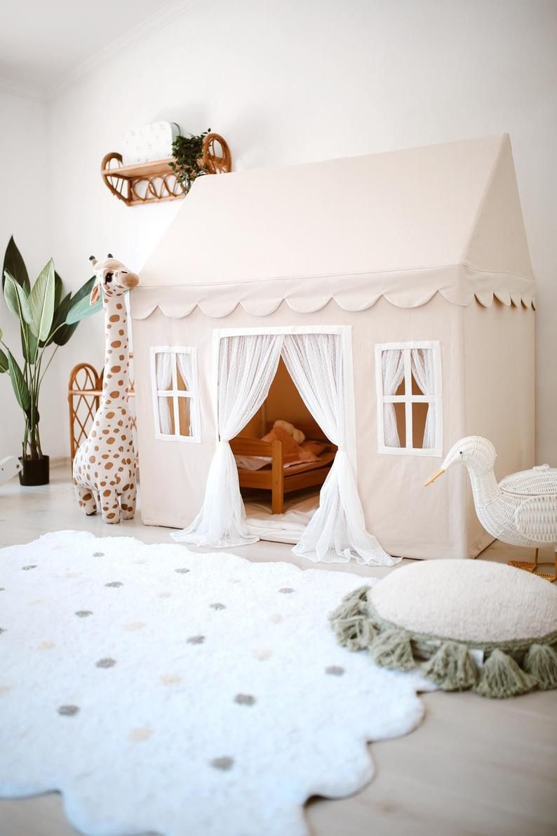 Boho Tent, Naturel Playhouse, Indoor Tipi, Play House Tipi, Canvas Playhouse, Boho wigwam, Kids Room