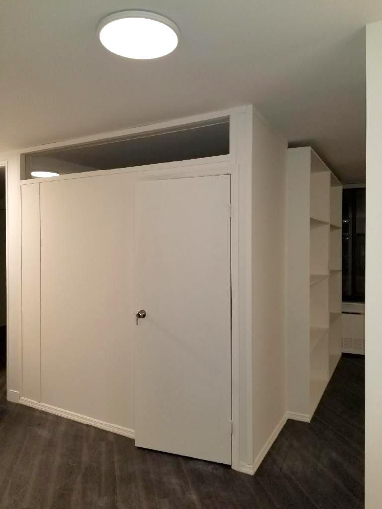Custom L Shape Room Partition With Storage And Plexiglass Transom
