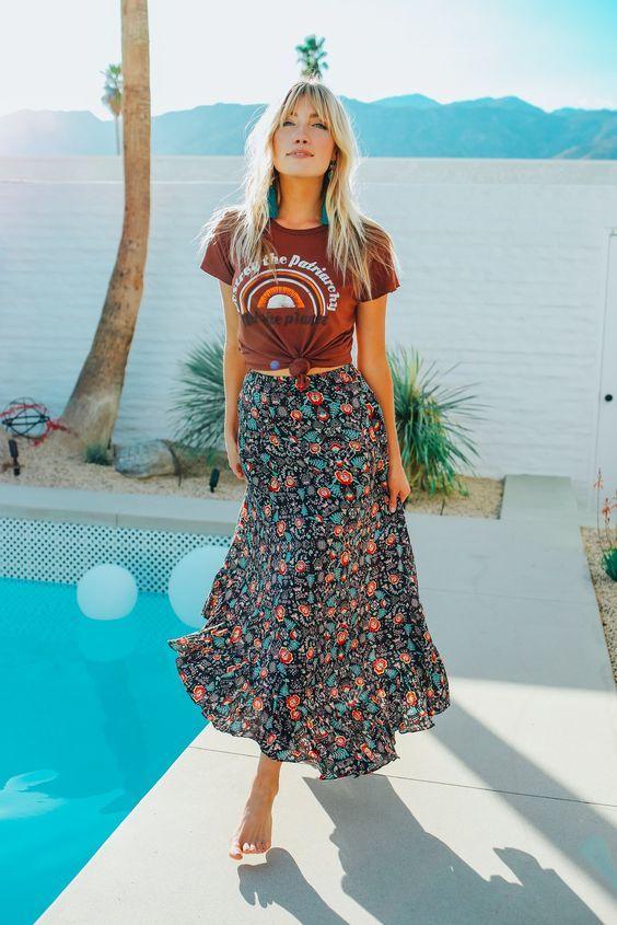 Floral Print Boho Maxi Skirt