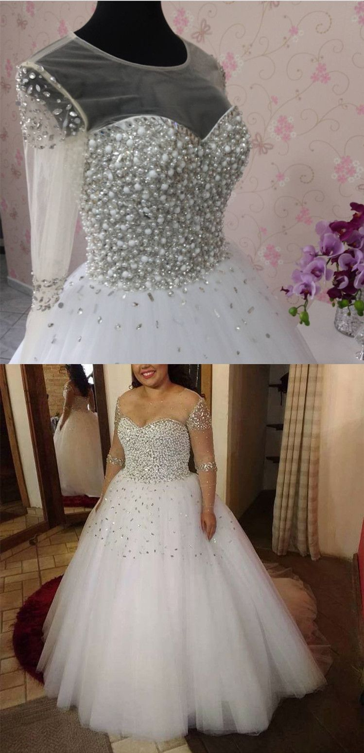A Line Pearl And Crystal Beaded Long Sleeves Wedding Dresses 2020 Wedding Dress Long Sleeve Princess Wedding Dresses Wedding Dresses 2018