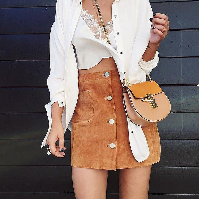 A Suede Skirt, Crop Top, and Button-Down | Skirt crop top and ...