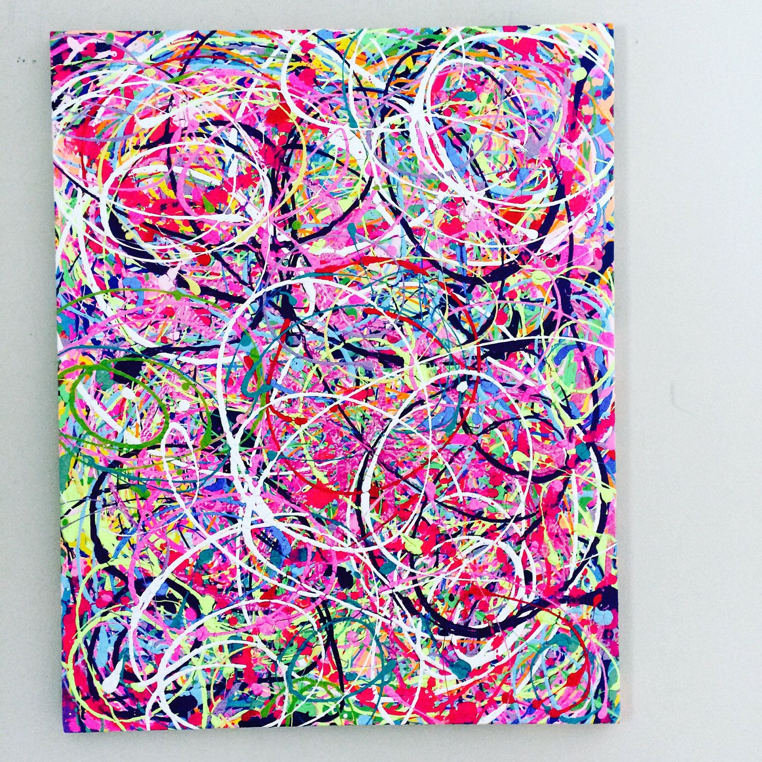 Abstract Pink Art XL Original Canvas Colorful Painting Large Motion Splatter Acrylic Bright Color By ResemblesMe On Etsy