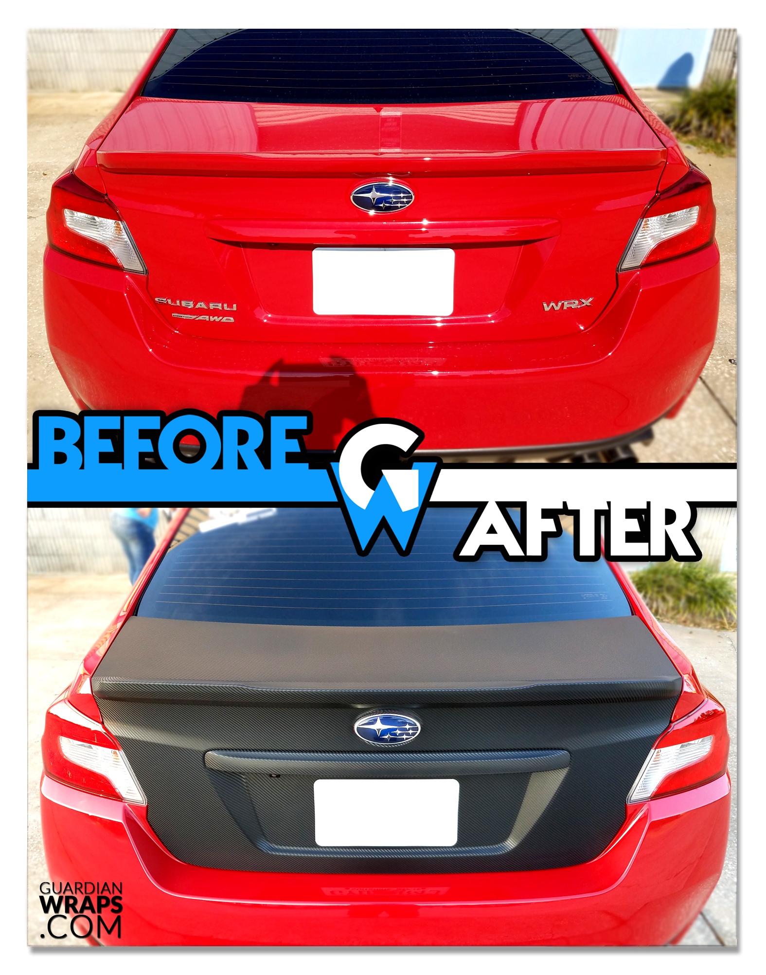 2016 Subaru Wrx Carbon Fiber Trunk Wrap Guardian Wraps Before And After Wraps 2016 Subaru Wrx Wrx