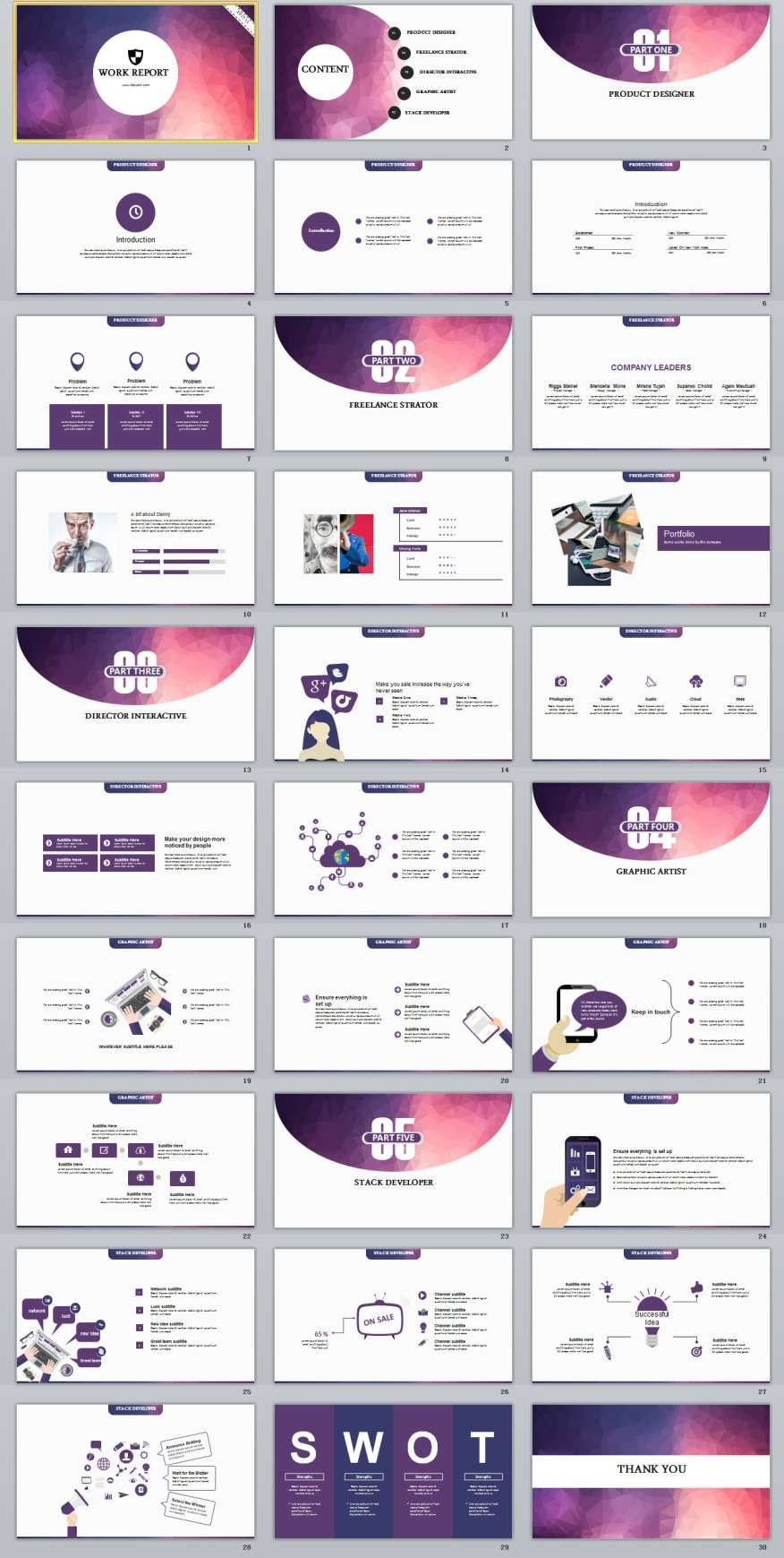 Purple Slide Report Powerpoint Templates  A Class
