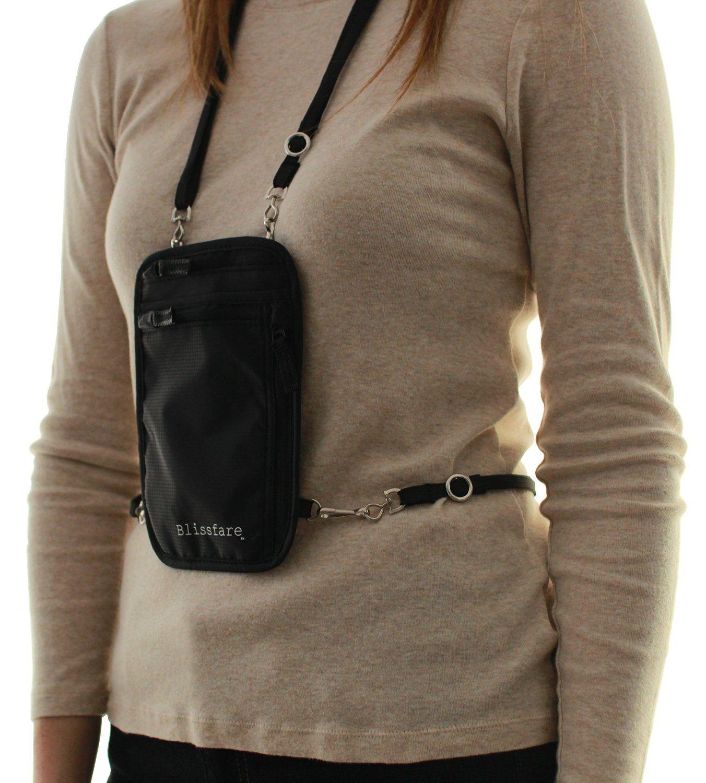 8cf0527885ba Blissfare Neck Wallet with Removable Waist Strap - RFID Blocking ...