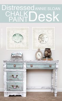 Exceptionnel Beachy Annie Sloan Chalk Paint Desk. More Distressed Furniture Ideas For  Coastal Style Living Here: ...