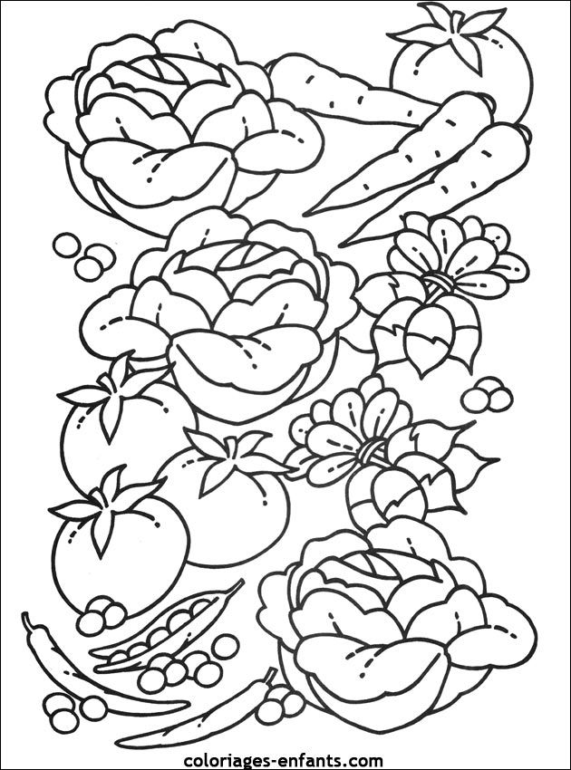Cahier Coloriage Fruits.Coloriages De Fruits Et Legumes Theme L Alimentation Coloriage