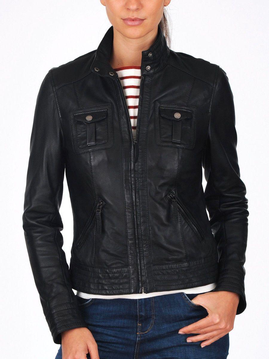 Women's Black Style 100 Real Genuine Lambskin Leather
