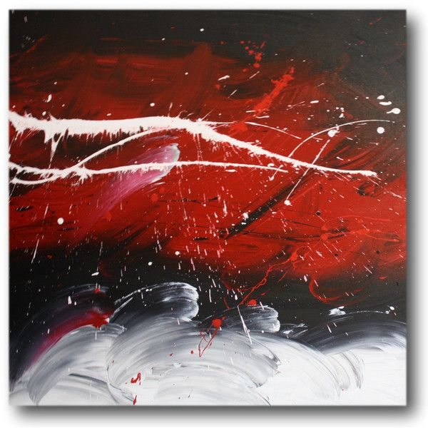 Abstract art canvas painting white red black wall art paintings 249 ❤ liked