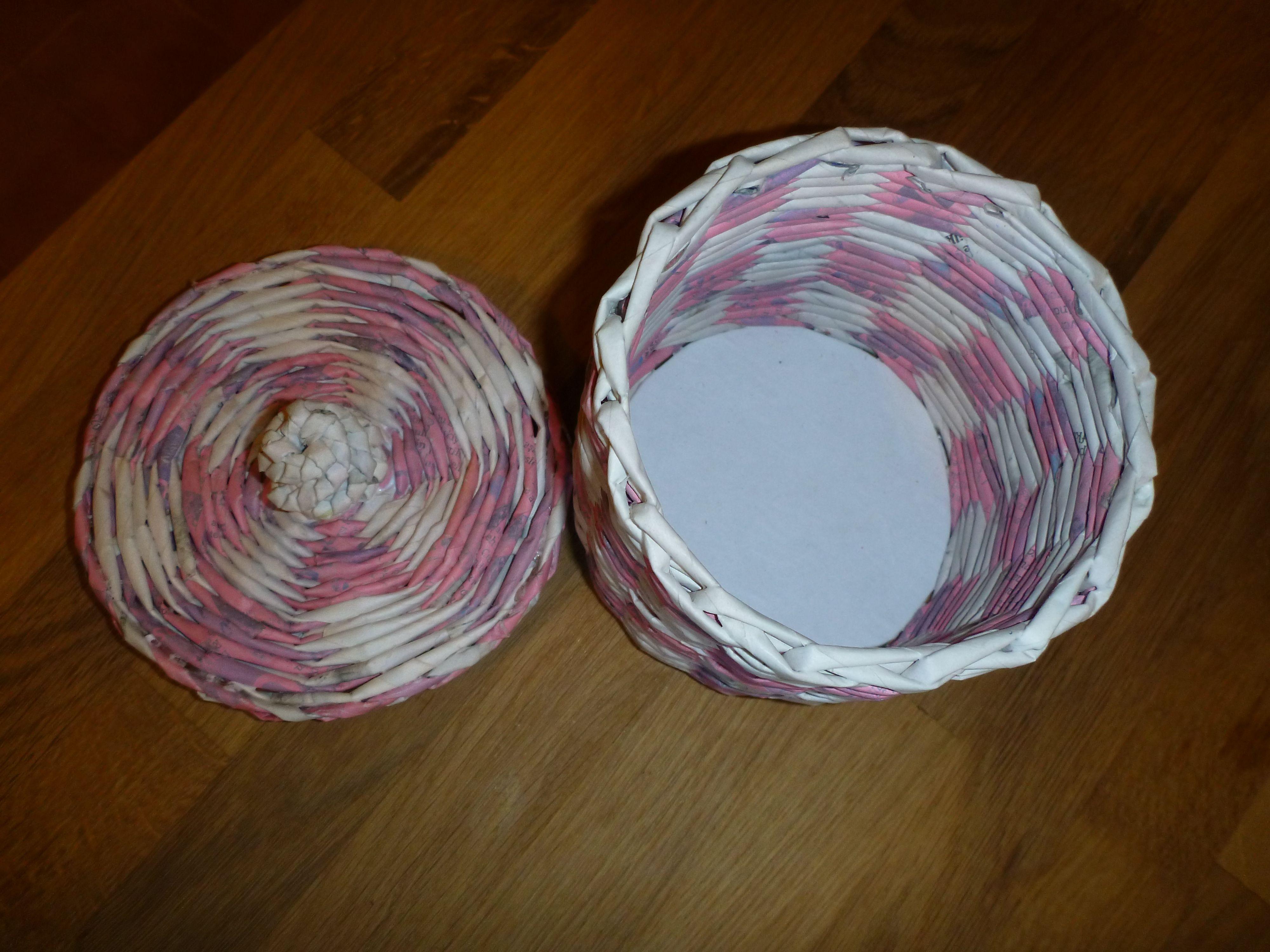 Cestino Bagno ~ Cestino da bagno bicolore cannucce di carta