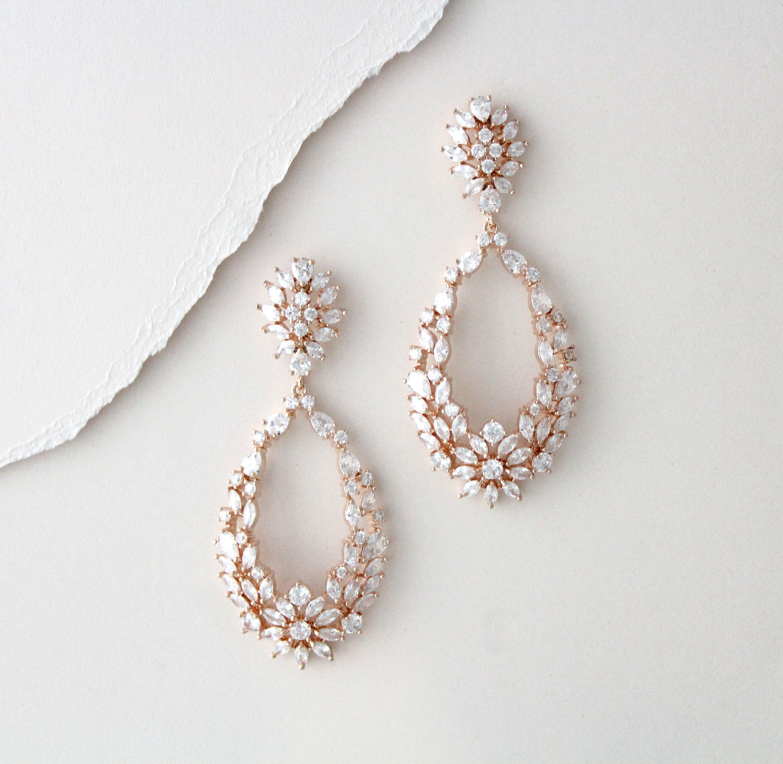 Wedding Earrings Navy Zirconia Earrings  Bridal Earrings Wedding Jewelry Bridesmaid Earrings Bridesmaid Gift Bridal Jewelry Wedding Jewelry